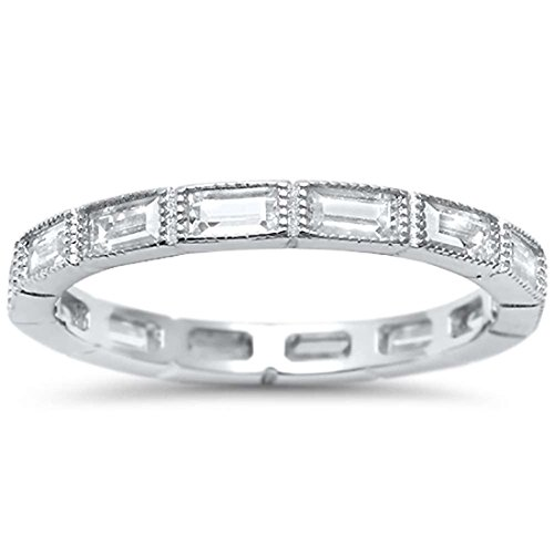 Blue Apple Co. 2.5mm Full Eternity Baguette Wedding Band Ring Simulated CZ 925 Sterling Silver, ()