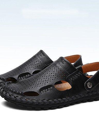 ShangYi Herren Sandaletten Herrenschuhe-Outddor / Büro / Kleid / Lässig / Sportlich-Sandalen-Nappa Leather-Schwarz / Braun Black