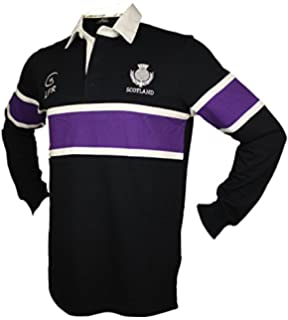 9b4a239f932 Scotland Rugby Shirt - Mens Navy Long Sleeve Top - Embroidered ...