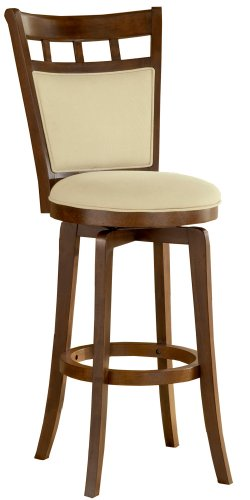 Hillsdale Jefferson 30-Inch Swivel Barstool with Cushion Back, Brown Cherry Finish with Woven Beige Fabric - Fabric Cherry Finish