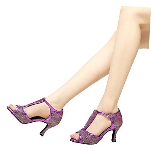 Misu Women's Peep toe Sandals Latin Salsa Tango Practice Ballroom Dance Shoes with 2.75