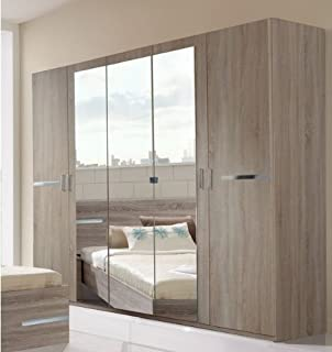 bedroom furniture wardrobes sliding doors. modren furniture germanica bavari bedroom furniture 5door wardrobe in mirrored and dark  oak colour  to furniture wardrobes sliding doors
