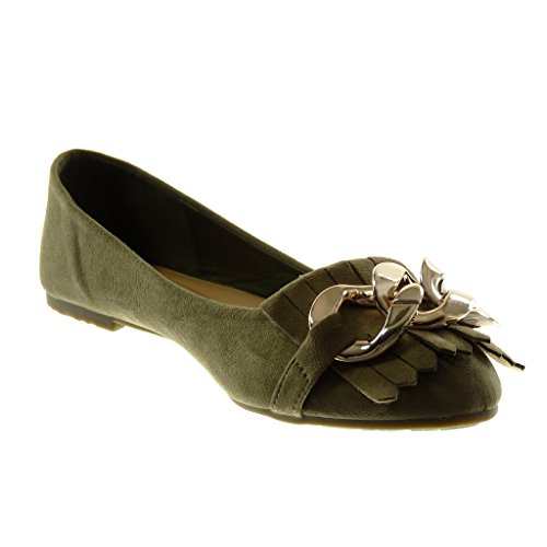 Donna Fashion Cm Slip Chain Shoes Fleet Wide 1 on Angkorly Gold Ballerinas Heel Green nmN0w8