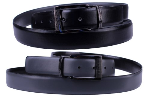 Stacy Adams 6-186 Twist Reversible Mens Adjustable Belt with Laser Engraved Detail, Gun Metal Finish Buckle (34, Black / Gray) by Stacy Adams