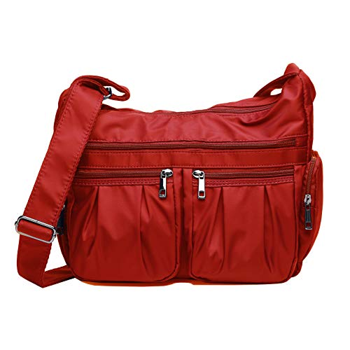 Crossbody Bags for Women, Multi Pocket Shoulder Bag Waterproof Nylon Travel Purses and Handbags (8981_ Red2)