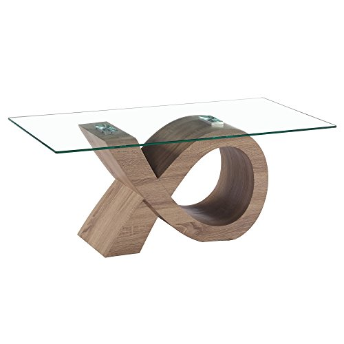Fab Glass and Mirror FGM-TL-14C03 Alpha Oak Effect Stylish Base Modern Coffee, Dining Room Glass Table, 43