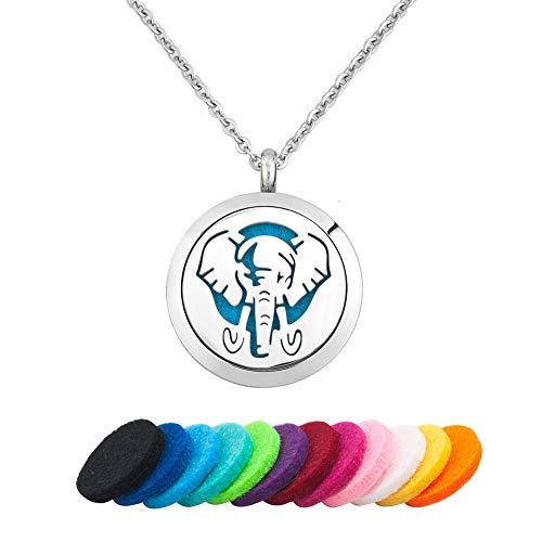 JewelryJo Aromatherapy Essential Oil Diffuser Necklace Women Men Elephant Locket Pendant with Refill Pads by JewelryJo (Image #4)