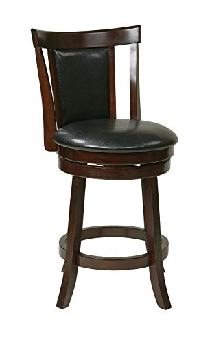 OSP Designs Office Star Metro Faux Leather Seat and Back Round Swivel Barstool with Footrest and Espresso Finish Wood Frame, 24-Inch, (Espresso Finish Bar)