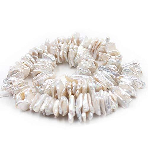 Gem Pearl Biwa - Natural 10x15mm Biwa Keshi Baroque White Freshwater Pearl Jewelry DIY Beads Strand 15