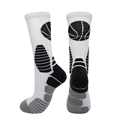 - 2 Pairs PK Elite Basketball Socks Dri-Fit Crew Sports Athletic Socks for Boy Girl Men Women (White/Grey X 2PK, L)