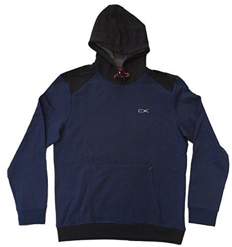 Calvin Klein Mens Performance Athletic Hooded Sweatshirt (Medium, Blue)
