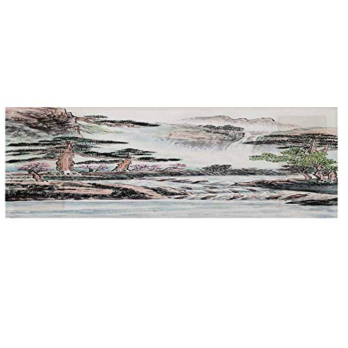 (Pencil Drawing Decor Microwave Oven Cover with 2 Storage Bag,Mountain and River Painting Effect Pine Trees Floral Design Cover for Kitchen,36