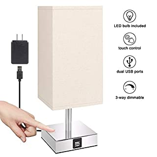 Touch Control Table Lamp with Convenient Dual USB Charging Ports( LED Bulb Included), Aooshine 3 Way dimmable Touch Lamp, Suitable for Bedside Table lamp, Office lamp and Living Room.