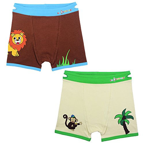 Ez Undeez Boys Boxer Briefs Toddler Training Underwear Easy Pull Up Handles (2-3 Years, Monkey-Lion) (Elmo Potty Training Pants)