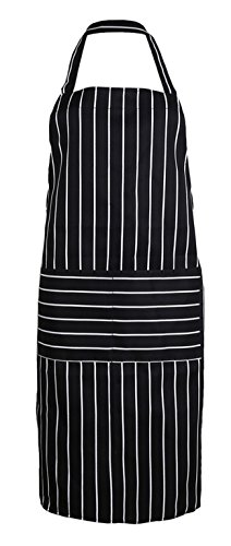 AliceInter Stripe Kitchen Apron for Women Men Useful Cooking Apron Grid Adjustable Chef Cloth Accessories (Black)