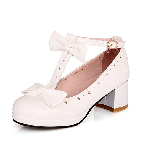 1 Tot 9 Damesgesp Gesponnen Gouden Strik Ronde Neus Rubberen Pumps-schoenen Wit