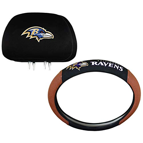 NFL Baltimore Ravens Steering Wheel and Head Rest Cover Combo (Ravens Steering Wheel Cover)