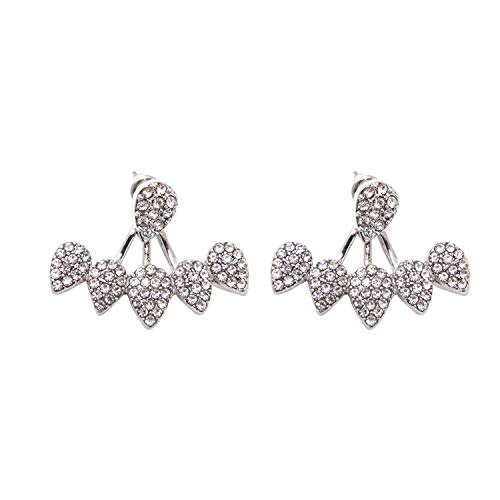 Honbay 2PCS Simple Stylish Water Drop Crystal Rhinestone Ear Studs Earrings Pierced Charms Jewelry for Women and Girls (Silver Tone)