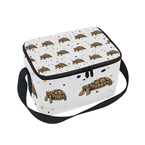 (Lunch Bag Sulcata Tortoise, Large Insulated Bento Cooler Box with Black Shoulder Strap for Men Women Kids, BaLin 10