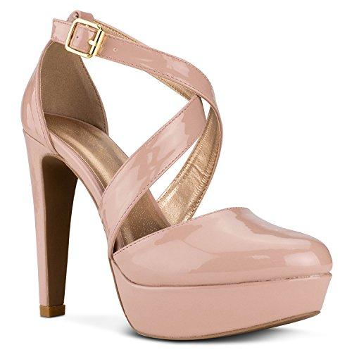 RF ROOM OF FASHION Women's Criss Cross Mary Jane Closed Toe Dress Platform Pump   Elegant Formal Evening Party Shoes - Blush Patent (Platform Jane Mary Criss Cross)