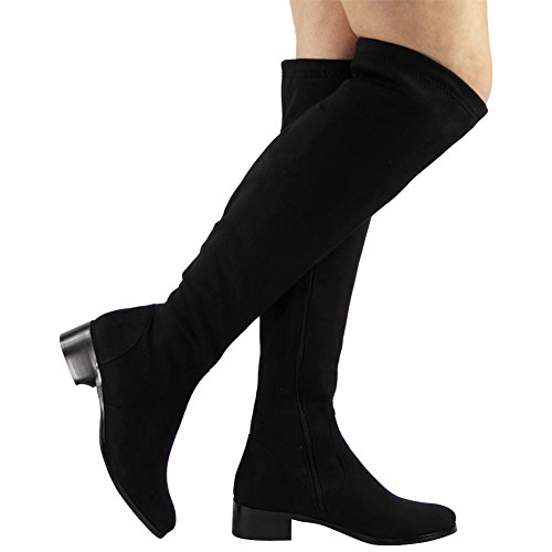 High Stretch 3 Knee Thigh The Siz Mid Black Boots Over Ladies 8 Low Heel Shoes Womens Long 1EfqwEA