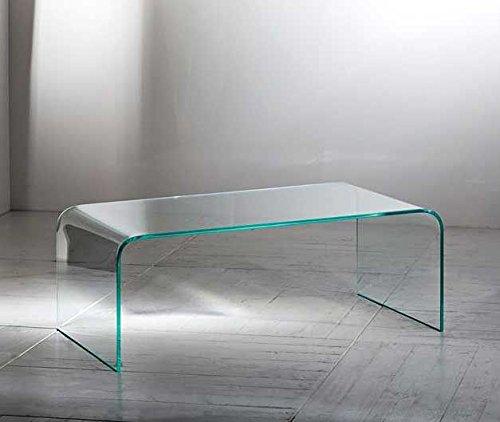 Deslumbrante mesa de centro fabricada en una pieza de cristal curvado.