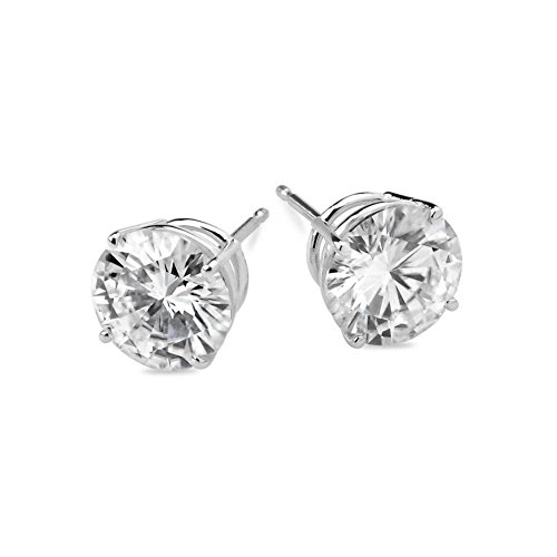 14k White Gold 7mm Round Forever Brilliant Moissanite Stud Earrings 2.4cttw DEW By Charles & Colvard Created Moissanite Earring Studs