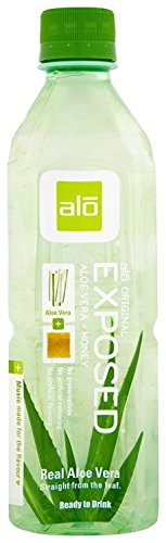 ALO Exposed Aloe Vera Juice Drink, Original + Honey, 16.9 Ounce (Pack of 12)