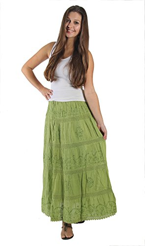 KayJayStyles Full Length Womens Solid Embroidered Gypsy Bohemian Long Cotton Skirt (Lime) Photo #3