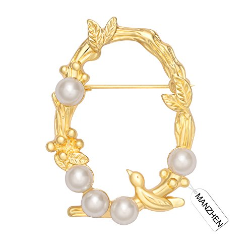 MANZHEN Gold Freshwater Cultured Pearl Olive Branch Leaf Circle Brooch Pins for Clothes (Gold) (Circle Gold Brooch)
