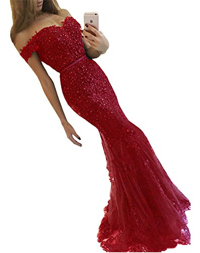 f08305a4f359 Dannifore Off Shoulder Lace Prom Dresses Mermaid Long Formal Evening Dress  Red Size 20W