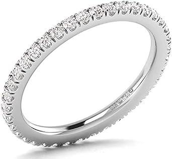 Anillo de boda redondo de 0,50 quilates con diamantes de corte brillante de eternidad completa en oro blanco de 18 quilates, con sello de Assay Office London.
