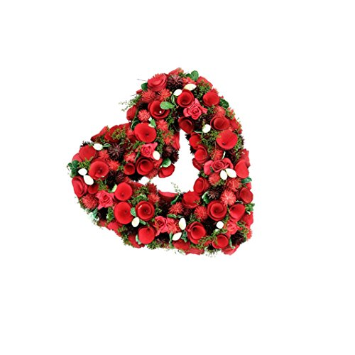 """Custom & Unique (13.5"""" Inches) 1 Single Mid-Size Decorative Holiday Wreath for Door, Made of Resin w/ Artificial Festive Valentine's Day Love Heart w/ Rose Flowers Style (Green, Red, Purple, & White) (White Holiday Wreath)"""