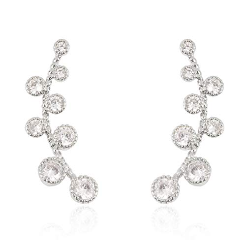 RIAH FASHION Sparkly Crystal Rhinestone Constellation Row Climber Earrings - Cubic Pave Delicate Simple Curved Bar Ear Crawler Cuff Graduated Bezel/Spike/Bubble Branch (Round - Silver)