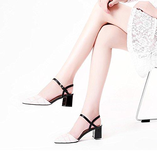 Moda Mujer verano sandalias confortables tacones altos,35 negro apricot