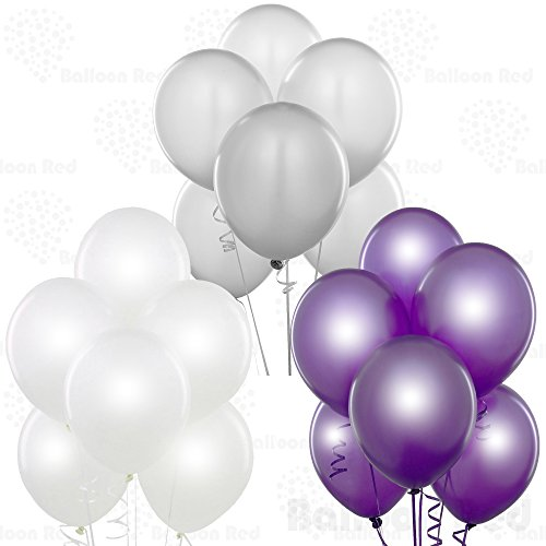 12 Inch Pearlized Latex Balloons (Premium Helium Quality), Pack of 72, Pearl White, Metallic Silver, Metallic - Silver Purple