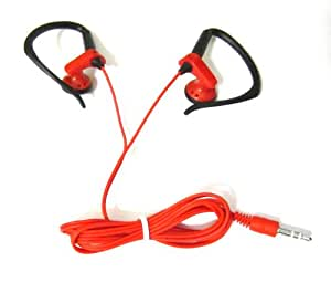 Red Stereo Headphones 3.5mm with Black Ear Hooks for Sony Xperia VAIO T Z S Series Ultrabook/Tablet Intel Core Qualcomm Snapdragon S4 Pro In-Ear Headset Earset Headphone 3.5 mm