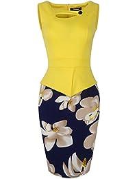 Fantaist Women's Keyhole Neck Floral Print Cotton Peplum Bodycon Office Dress