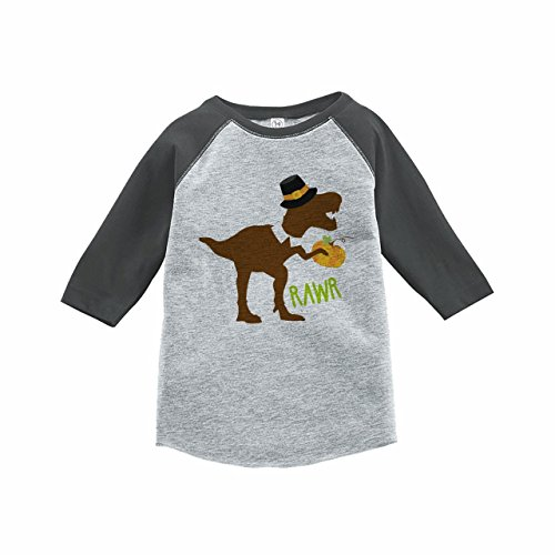 (7 ate 9 Apparel Kids Dinosaur Thanksgiving Grey Raglan)