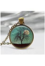 Full Moon Tree Moon and Star Round Necklace Pendant Tray Harvest Moon