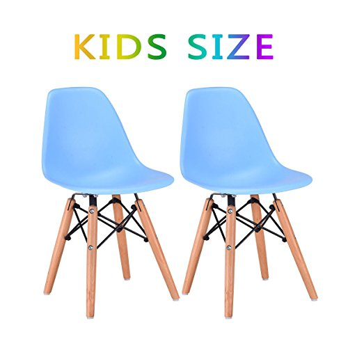Costzon Set of 2 Kids Dining Chair, Modern Molded Shell Chair with Dowel Wood Eiffel Legs (Blue) by Costzon