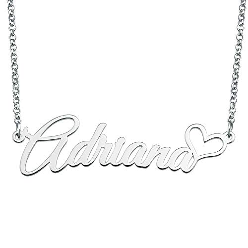 SexyMandala 925 Sterling Silver Personalized Name Necklace Customized Heart Pendant Jewelry Same Day Shipping Gift for ()