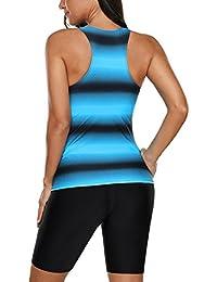 Aleumdr - Bañador para mujer con estampado en bloque de color Racerback con capris de natación S-XXXL