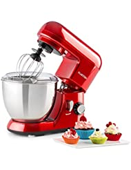 KLARSTEIN Pico • Tilt-Head Stand Mixer • Dough Hook, Flat Beater, Wire Whip • 550 Watts • 4.2 qt Stainless Steel Bowl • Planetary Mixing Action • 6 Speeds • Multifunctional • red