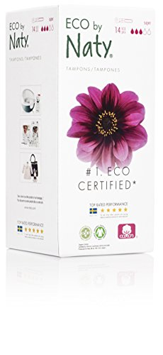 Eco by Naty Certified Organic Cotton Tampons with Cardboard Applicator, Super, 14 Tampons