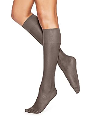 Hanes Silk Reflections Silky Sheer Knee Highs 2-Pack_Barely Black_One Size