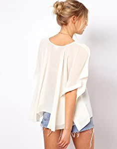 Sexy 2013 Ladies Summer Chiffon Smock Style T Shirt Blouses Womens Cloak Tops Plus Size Clothes (White, M)