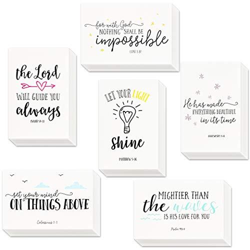 48 Inspirational Cards with Envelopes, Bible Verse Quote Scripture Greeting Cards, Religious Motivational Encouragement, Bulk Box Set, 4 x 6 Inches
