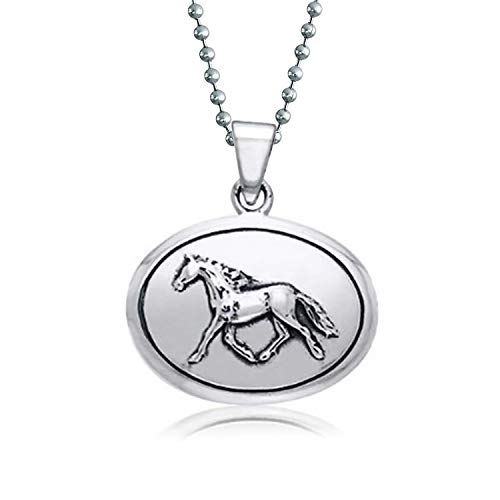 Equestrian Oval Medallion Thoroughbred Horse Pendant Necklace For Women For Teen Oxidized 925 Sterling - Sterling Medallion Horse Earrings Silver