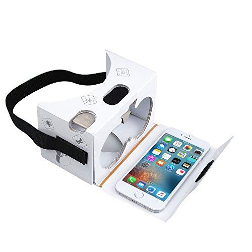 Google Cardboard,TechRise Virtual Reality 3D Karton Brille Google Cardboard V2.0 mit Einstellbar Komfort Kopfband und Ultra Clearer Linsen für alle 4-6 Zoll Smartphones - weiß
